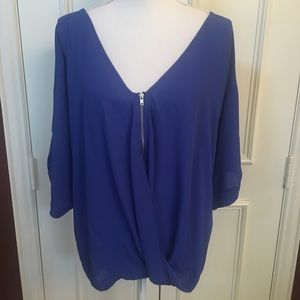 Venus Royal Blue V- neck Blouse Size M